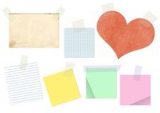 Papeles pegados por una cinta adhesiva Fotografía de archivo