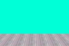 Papeles pintados de madera del diseño de la pared de la perspectiva del sitio de madera del piso y fondo azulverde Fotos de archivo
