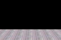 Papeles pintados de madera del diseño de la pared de la perspectiva del sitio de madera del piso y fondo negro Imagenes de archivo