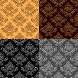 Papeles pintados retros inconsútiles - sistema de cuatro colores Imagenes de archivo