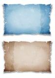 Papeles rasgados azules y marrones Fotos de archivo