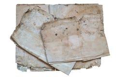 Papeles viejos en un fondo blanco Fotos de archivo libres de regalías