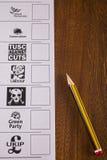 Papeleta electoral BRITÁNICA para una elección general Fotos de archivo libres de regalías