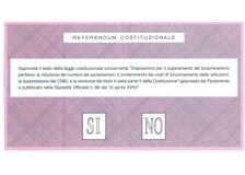 Papeleta electoral para el referéndum italiano de la constitución Foto de archivo