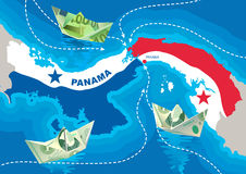 PapePaper boats from dollars and euros are floating in the Panama Canal. Paper boats from dollars and euros are floating in the Panama Canal. The concept of Royalty Free Stock Photo