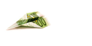 Paper 100 Euro Plane Stock Image