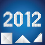 Paper. 2012. Origami. A paper 2012 on a blue background stock illustration