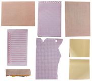 Paper. Collection of old note paper on white background. each one is in full cameras resolution royalty free stock image