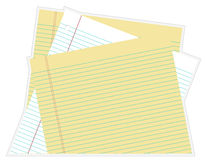 Paper. – Stacked white and yellow lined Royalty Free Stock Images