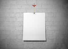 Paper. White paper on the wall stock illustration