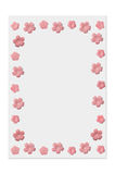 Paper 3. Sheet of paper with artificial pink flowers background border stock photography