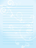 Paper. Note paper with soft blue floral background Royalty Free Stock Photos