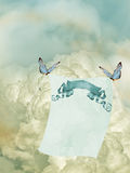 Paper. In the sky with butterfly Stock Image
