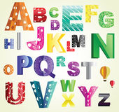 Paper ABC. Beautiful cut out paper abc, various cuts and bright colors. Can be used as text decoration, part of logo or illuminated first letters in a book, or Stock Photos