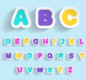 Paper ABC. Handmade font. EPS 10. Transparent editable shadows. Smartly grouped and layered Stock Photography