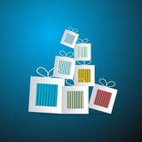 Paper Abstract Gift, Present Boxes. On Blue Background royalty free illustration