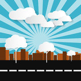 Paper Abstract Retro City Illustration. With Buildings, Trees, Sun and Clouds Stock Photos