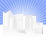 Paper advertising print products. Blank set of products for commercial used made of paper to be customized with printing and designs Royalty Free Stock Photos
