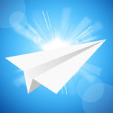The paper aeroplane in the blue sky Stock Photo