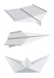 Paper aeroplanes and boat. Illustration of folded paper models, aeroplanes and boat,  isolated on white background, Vector illustration available for download Royalty Free Stock Photography