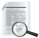 Paper agreement and magnifier. Contract Royalty Free Stock Image