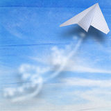 Paper airbus flying in sky Royalty Free Stock Photo