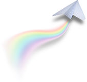 Paper airbus with rainbow tail. Isolated on white background Stock Photography