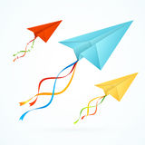 Paper Airplain Colorful Set. Vector Stock Image