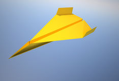 Paper airplane. Yellow paper airplane flying over blue - 3d render illustration vector illustration