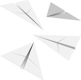 Paper airplane. Four paper airplanes with different angles Stock Illustration