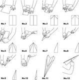 Paper Airplane. A step-by-step procedure for making a paper airplane. original artwork from own photography Stock Image