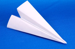 Paper Airplane. On a Yellow Background Stock Image