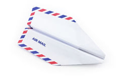 Paper airplane airmail concept Royalty Free Stock Images