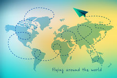Paper airplane. Background, travel around the world, world map and gentle gradient Stock Image