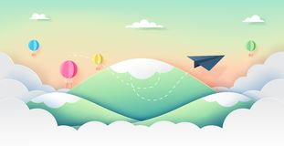 Paper airplane and ballons flying on beautiful sky paper art sty vector illustration