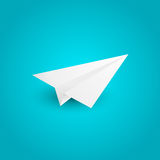 Paper airplane. On blue background vector illustration