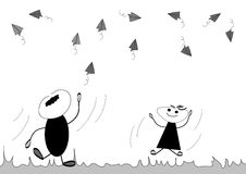 Paper Airplane. Boy and girl playing with paper planes royalty free illustration