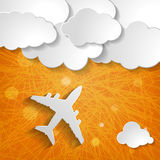 Paper airplane with clouds on an orange striped background Stock Photography