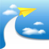 Paper airplane and clouds sky Stock Photography