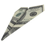 Paper airplane from the dollars Royalty Free Stock Photography