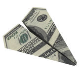 Paper airplane from the dollars Stock Photography
