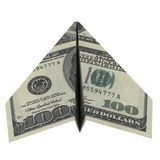 Paper airplane from the dollars Stock Images