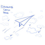 Paper airplane and dreams come true Stock Images