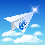 Paper airplane with e-mail sign Stock Image