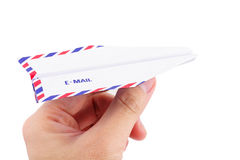Paper airplane email concept. Envelope paper airplane, email concept Royalty Free Stock Photo