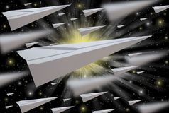 Paper airplane, floating in space, conceptualism. Leading to learning new things royalty free illustration