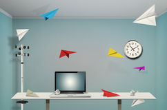Paper airplane. Flying across office room vector illustration
