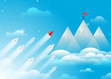 Paper airplane flying to top of mountain Stock Photography