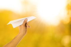 Paper airplane freedom for think and creative Stock Photography