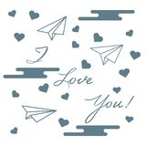Paper airplane, hearts, clouds. Valentine\'s Day. Paper airplane, hearts, clouds and inscription i love you.Template for design, fabric, print. Greeting card Royalty Free Stock Photos